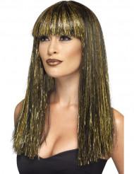 Lange zwarte en goudkleurige Egyptische pruik voor vrouwen