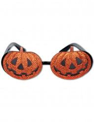 Halloween pompoenen bril met glitters