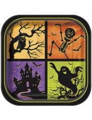 Set vierkant borden Nacht van Halloween