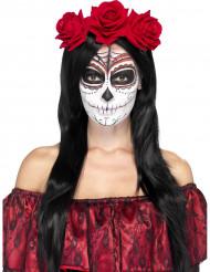 Rood haarband met roosjes voor volwassenen