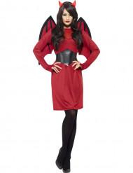 Zwart-rood duivel Halloween kostuum voor dames
