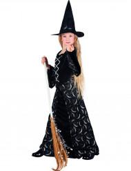 Halloween heks kostuum voor meisjes met halve maan motief