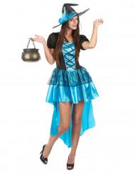 Sexy blauwe heksen Halloween kostuum voor vrouwen