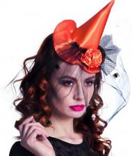 Mini oranje heksen hoed voor dames Halloween