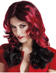 Half lange rood-zwarte pruik dames