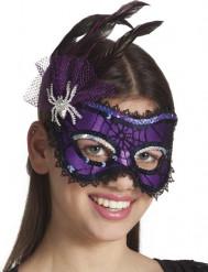 Paars masker met veren voor dames Halloween