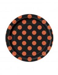 Set zwarte borden met oranje stippen