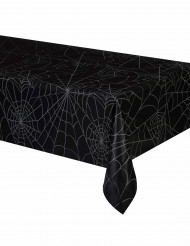 Zwarte tafelkleed met spinnenwebben motieven Halloween