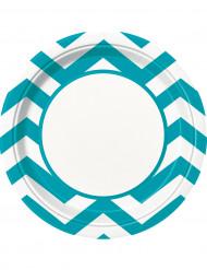8 turquoise kartonnen zigzag borden