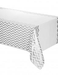 Zilverkleurig plastic zigzag tafelkleed