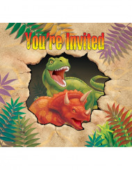 Set van uitnodigingen dinosaurus