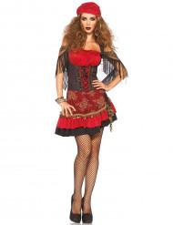 Rood zigeuner kostuum met rozenmotief voor dames