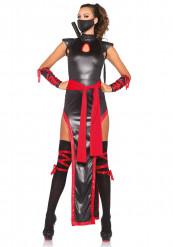 Rood-zwarte ninja kostuum voor vrouwen