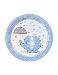 8 kleine kartonnen Blauwe Olifant borden