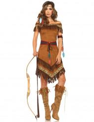 Indianen kostuum met bruine franjes voor dames