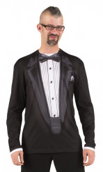 Zwart gala kostuum t-shirt voor mannen