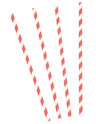 10 kartonnen rietjes met rode en witte strepen