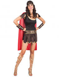 Rood en goudkleurig Romeins gladiator kostuum voor vrouwen