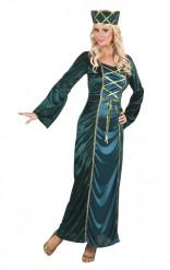 Groen Middeleeuwse koningin kostuum voor vrouwen
