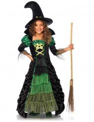 Groen en zwarte heks outfit voor kinderen