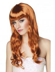 Lange pruik met oranje rood haar voor vrouwen