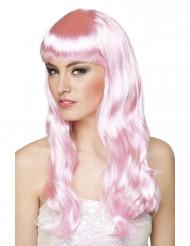 Lange roze pruik voor vrouwen