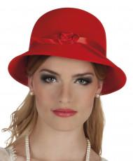 Rode charleston jaren 20 hoed met bloem voor vrouwen