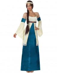 Blauw en wit middeleeuwse Lady kostuum voor vrouwen