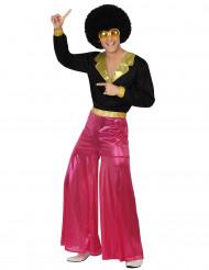 Zwart - roze disco kostuum voor mannen