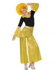 Gele en zwarte disco outfit voor dames
