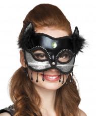 Sexy katten masker met nep bond voor vrouwen