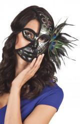 Zwarte pauw halfmasker voor volwassenen