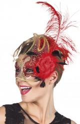 Rode Venetiaans masker voor vrouwen