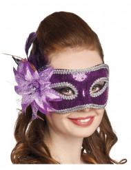 Paars Venetiaans masker voor vrouwen