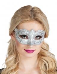 Zilverkleurig Venetiaanse masker met glitters vrouwen