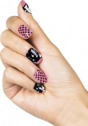 Valse roze met zwarte nagels met katten gezicht