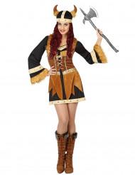 Bruin met zwart viking kostuum voor vrouwen
