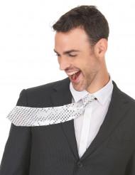 Zilverkleurige stropdas met lovertjes voor volwassenen