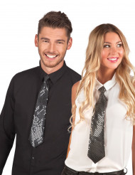Zwarte stropdas met doorschijnende lovertjes voor volwassenen