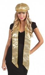 Goudkleurige sjaal met lovertjes voor volwassenen