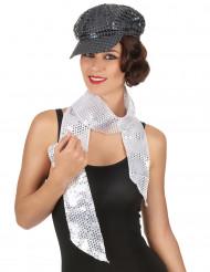 Zilverkleurige sjaal met lovertjes voor volwassenen