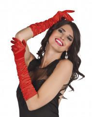 Lange rode satijnen handschoenen voor vrouwen