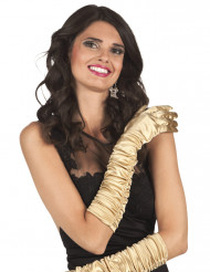 Goudkleurige lange handschoenen voor vrouwen