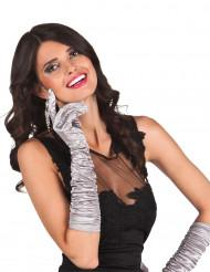 Lange zilverkleurige handschoenen voor vrouwen