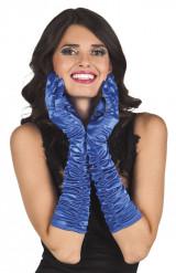 Blauwe lange handschoenen voor vrouwen