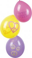 Set van 6 Hippie Flower Power ballonnen