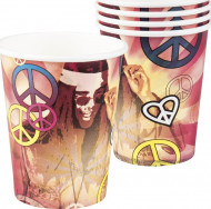 Set van Hippie Flower Power bekers