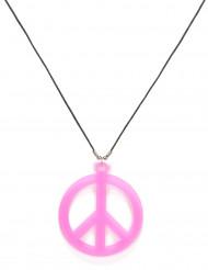 Roze hippie ketting voor volwassenen