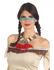 Indianen ketting met rode veren voor vrouwen