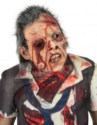 Luxe latex zombie masker met bebloed oog